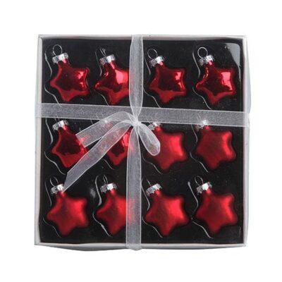 12 stk. røde glas stjerner Ø 3 cm. til juletræ og juledekorationer