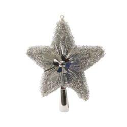 sølv glitter og lametta topstjerne i plastik til juletræets top Ø 21 cm.