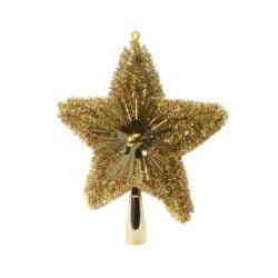 guld glitter og lametta topstjerne i plastik til juletræets top Ø 21 cm.