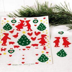gammeldags og nostalgiske vinyl nisser og juletræer til vinduet