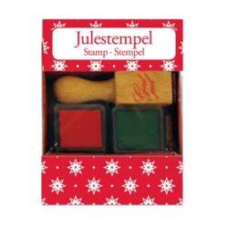 stempelsæt med 2 farver rød og grøn og stempel med god jul tekst