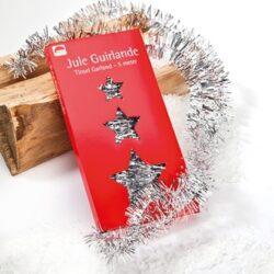 5 meter lang sølv lametta ranke som pynt til juletræ
