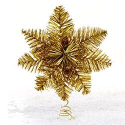 topstjerne til juletræ i guld lametta nostagisk juletræspynt