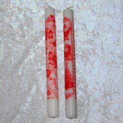 kalenderlys hvide stearinlys med røde tal Ø 3 cm.