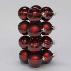 glas julekugler mørk røde med matte og blanke overflader diameter 8 cm