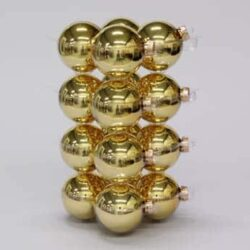 glas julekugler guld med blank overflade diameter 8 cm