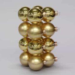 glas julekugler guld med matte og blanke overflader diameter 8 cm