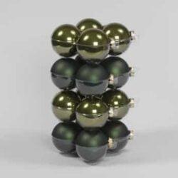 glas julekugler mørk grøn med matte og blanke overflader diameter 8 cm