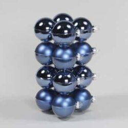 glas julekugler blå med matte og blanke overflader diameter 8 cm