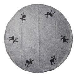 grå filt juletræstæppe med sorte filt rensdyr elge diameter 1 meter