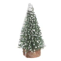 lille kunstigt juletræ 7 cm. højt grøn med sne