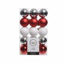 plast julekugler Ø6 i sortiment med rød hvid sølv