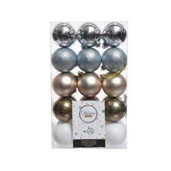 plast julekugler Ø6 i sortiment med sølv