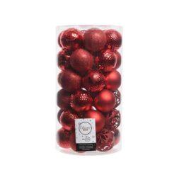 plastik julekugler Ø6 til juletræ røde med forskellige overflader