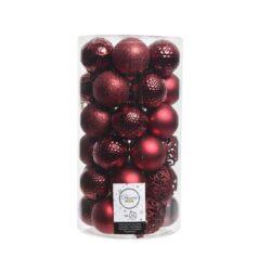 plastik julekugler Ø6 til juletræ mørkerøde med forskellige overflader