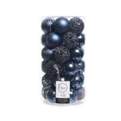 plastik julekugler Ø6 til juletræ blå med forskellige overflader