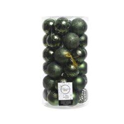 plastik julekugler Ø6 til juletræ grøn med forskellige overflader
