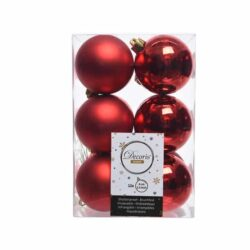 julekugler i plastik til juletræ 12 stk. rød Ø6 matte og blanke