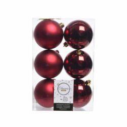 julekugler i plastik til juletræ 6 stk. mørkerød Ø8 matte og blanke