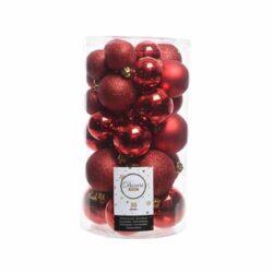 plastik julekugler Ø4 og Ø6 til juletræ røde med forskellige overflader
