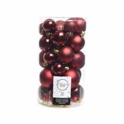 plastik julekugler Ø4 og Ø6 til juletræ mørkerøde med forskellige overflader