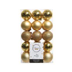 plast julekugler Ø6 i sortiment af forskellige guld