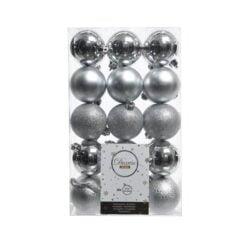 plast julekugler Ø6 i sortiment af forskellige sølv