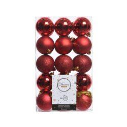 plast julekugler Ø6 i sortiment af forskellige rød