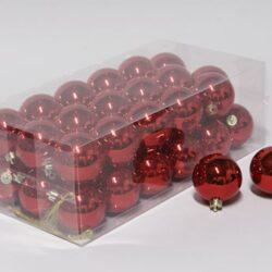 36 stk. blanke røde plastik julekugler diameter 6 cm. til juletræ og julepynt