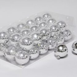 36 stk. blanke sølv plastik julekugler til juletræ og julepynt