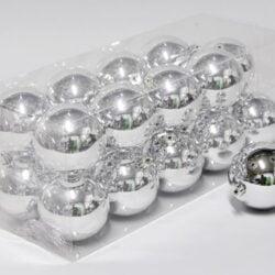 20 stk. blanke sølv plastik diameter 8 cm. julekugler til juletræ og julepynt
