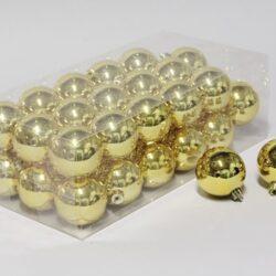 36 stk. blanke guld plastik julekugler til juletræ og julepynt