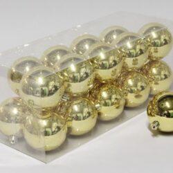 20 stk. blanke guld plastik diameter 8 cm. julekugler til juletræ og julepynt