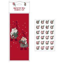 24 små papirsposer med datoer og sødt nissepar til decembers pakke julekalender