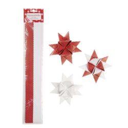 papirstrimler 3 centimeter brede til hvide og røde flet stjerner gør det selv