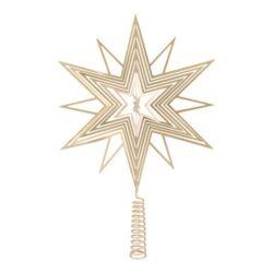 juletræs topstjerne i guld champagne farvet metal 3d effekt