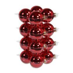 glas julekugler rød med blank overflade diameter 8 cm