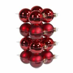 glas julekugler røde med matte og blanke overflader diameter 8 cm