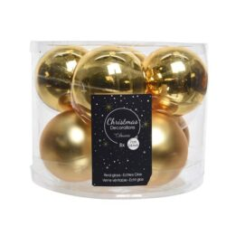 glas julekugler guld med matte og blanke overflader diameter 7 cm