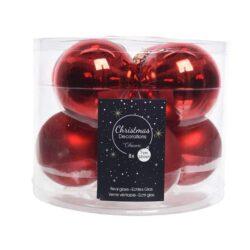 glas julekugler rød med matte og blanke overflader diameter 7 cm