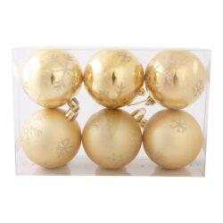 pakke med 6 stk. plastik julekugler guld med glitter dekoration diameter 6 cm.