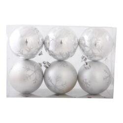 pakke med 6 stk. plastik julekugler sølv med glitter dekoration diameter 6 cm.