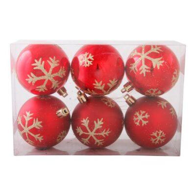 pakke med 6 stk. plastik julekugler rød med glitter dekoration diameter 6 cm.