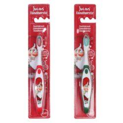 jule tandbørste til børn rød med nissen julius