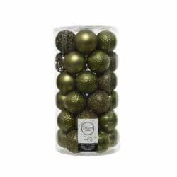 plastik julekugler Ø6 til juletræ mos grønne med forskellige overflader