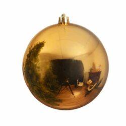 stor julekugle i plastik diameter 14 centimeter blank guld overflade