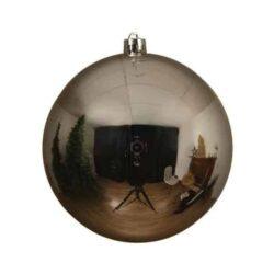 stor julekugle i plastik diameter 14 centimeter blank sølv overflade