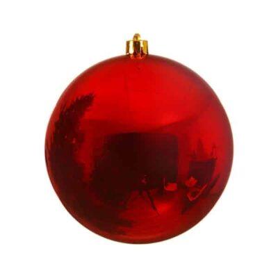 stor julekugle i plastik diameter 14 centimeter blank rød overflade