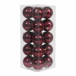 20 stk. blanke mørkerøde plastik diameter 8 cm. julekugler til juletræ og julepynt