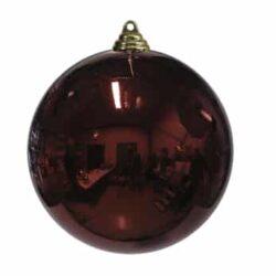 stor julekugle i plastik diameter 25 centimeter blank mørkerød overflade